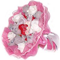 Букет из мягких игрушек Мишки Тэдди с сердечками 7 в розовом