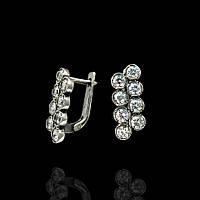 Серебряные женские серьги с фианитами, 16 камней