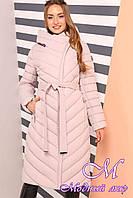 Женское теплое зимнее пальто большие размеры (р. 44-60) арт. Фелиция пудра