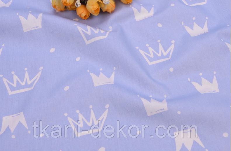 Сатин (хлопковая ткань) на сиреневом фоне новые короны