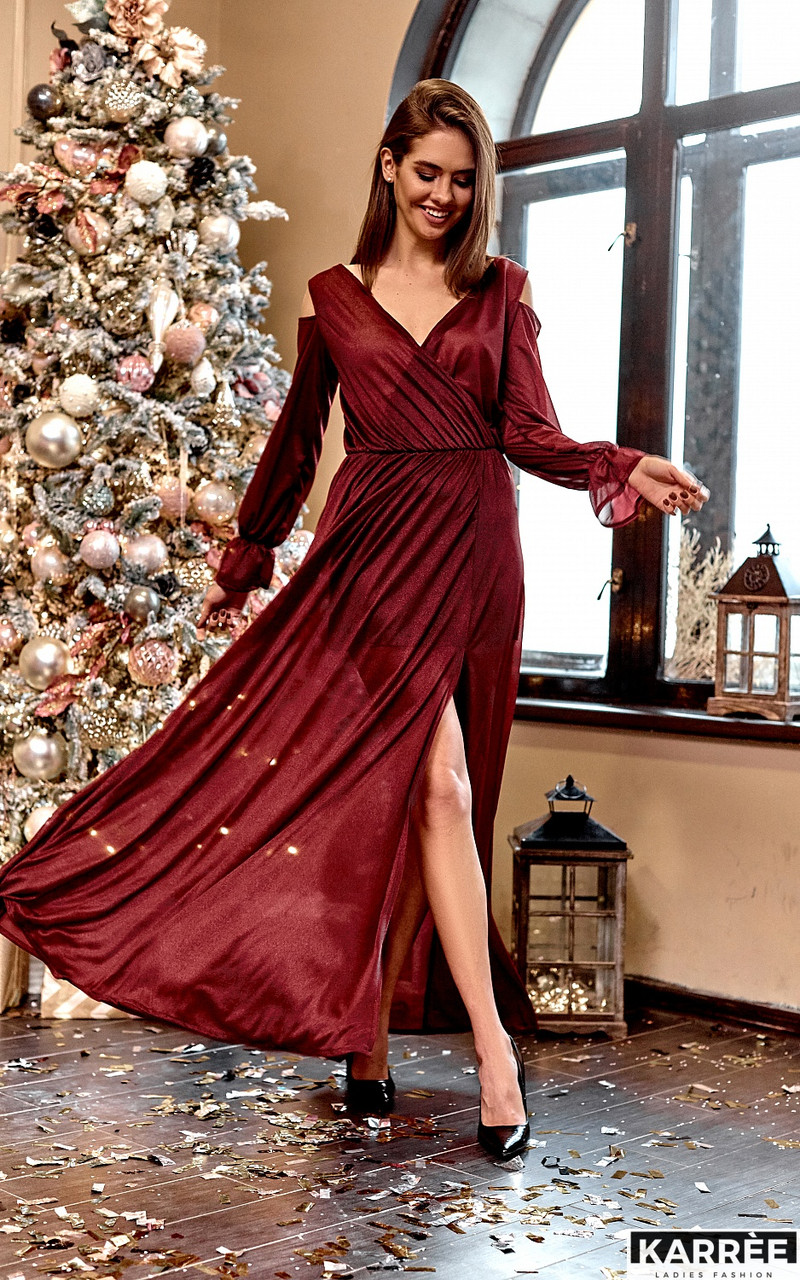 Шифоновое платье в пол с запахом из трикотажа с люрексом бордо