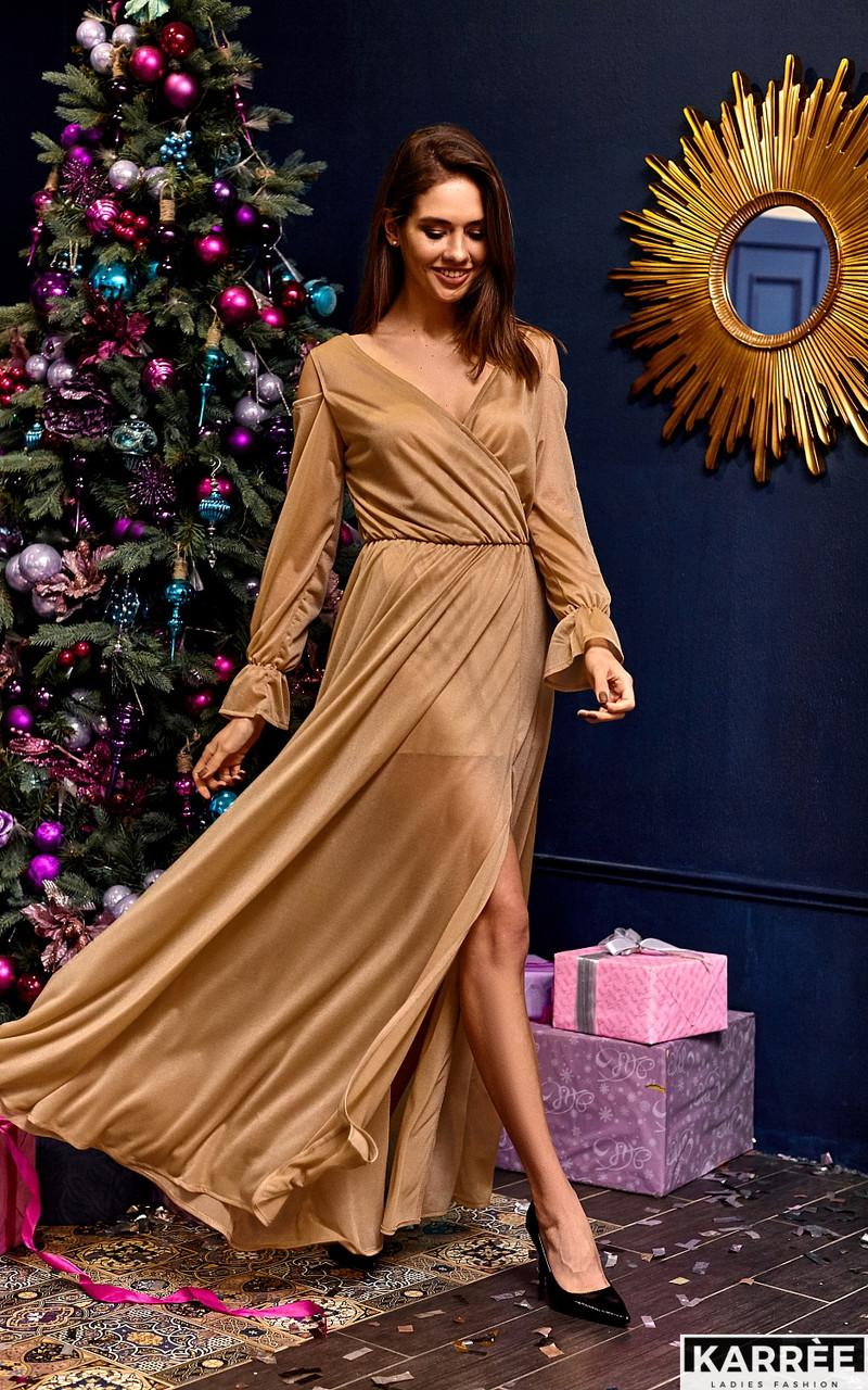 Шифоновое платье в пол с запахом из трикотажа с люрексом бежевое