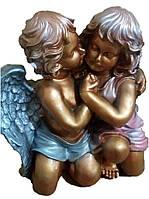 Статуэтка Ангелы обнимашки большие бронза+цвет 40 см