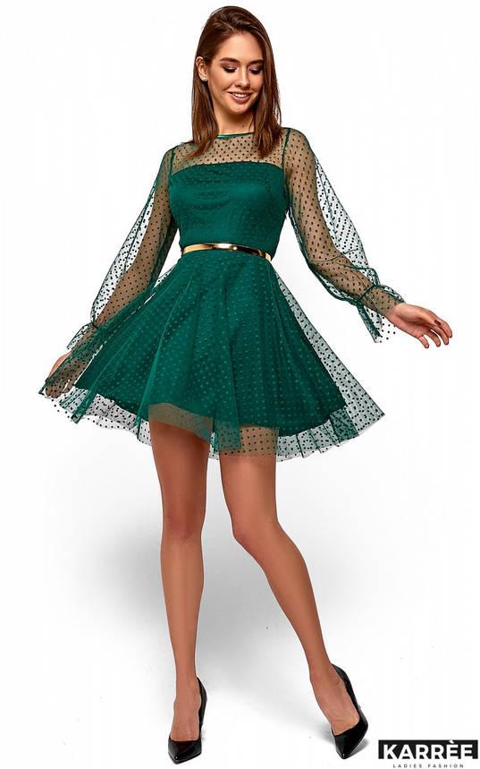 Нарядное женское платье с сеткой в горох изумрудное, фото 2