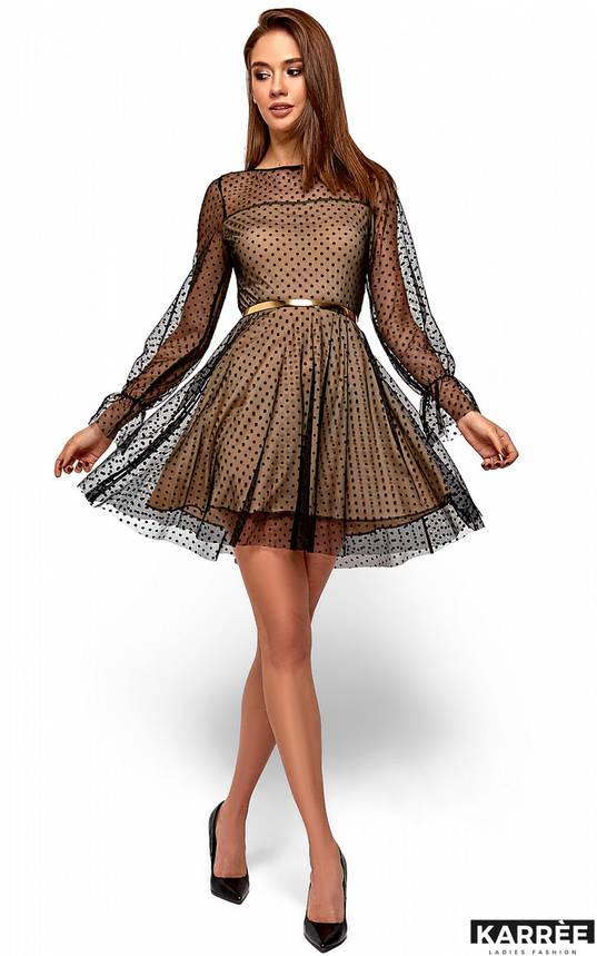 Нарядное женское платье с сеткой в горох бежевое, фото 2