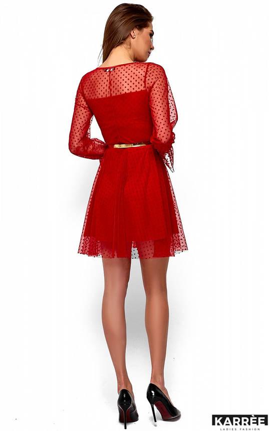 Нарядное красное платье с сеткой в горох, фото 2