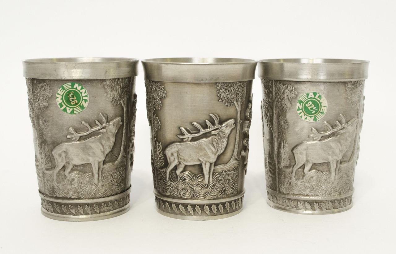 Три коллекционных оловянных бокала, пищевое олово, Германия, охота