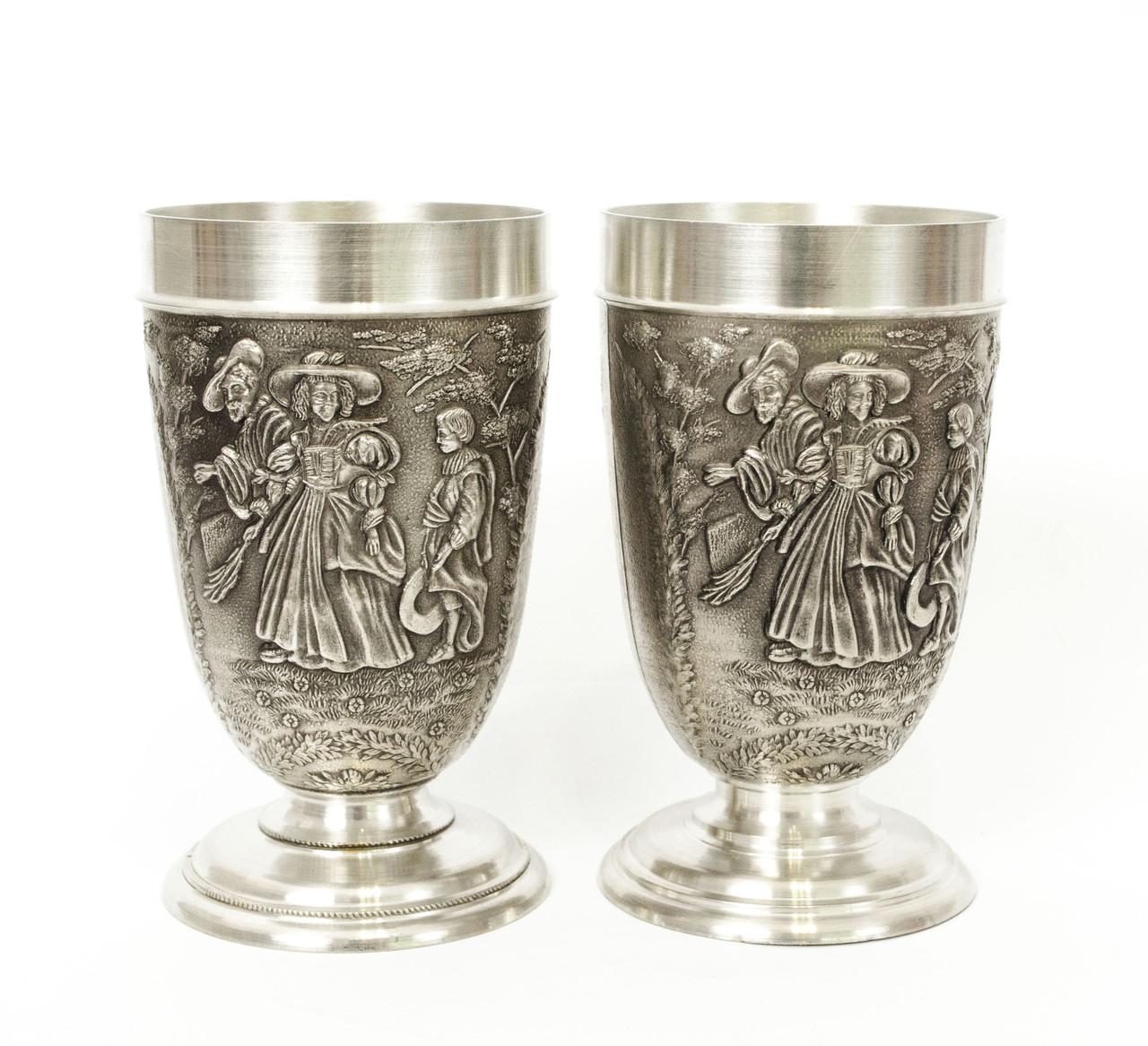 Два коллекционных оловянных бокала, олово, Германия, 200 мл