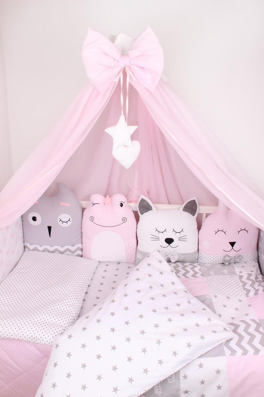 Комплект в кроватку с зверюшками в розовых тонах