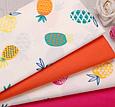 Сатин (хлопковая ткань) ананасы оранжево-зеленые, фото 2