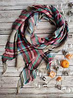 Теплый женский клетчатый  платок песочный