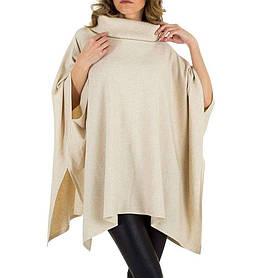 Женское пончо-свитер универсального размера Voyelles (Италия), Кремовый