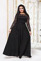 """Длинное платье в пол больших размеров """" Рукава гипюр """" Dress Code, фото 1"""