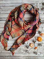 Теплый женский клетчатый  платок  оранжевый