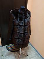 Жилет с кожаными рукавами трансформер 90 см