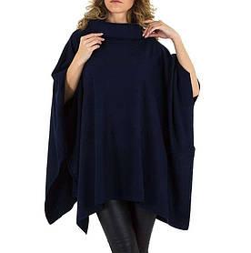 Женское пончо-свитер универсального размера Voyelles (Италия), Темно-синий