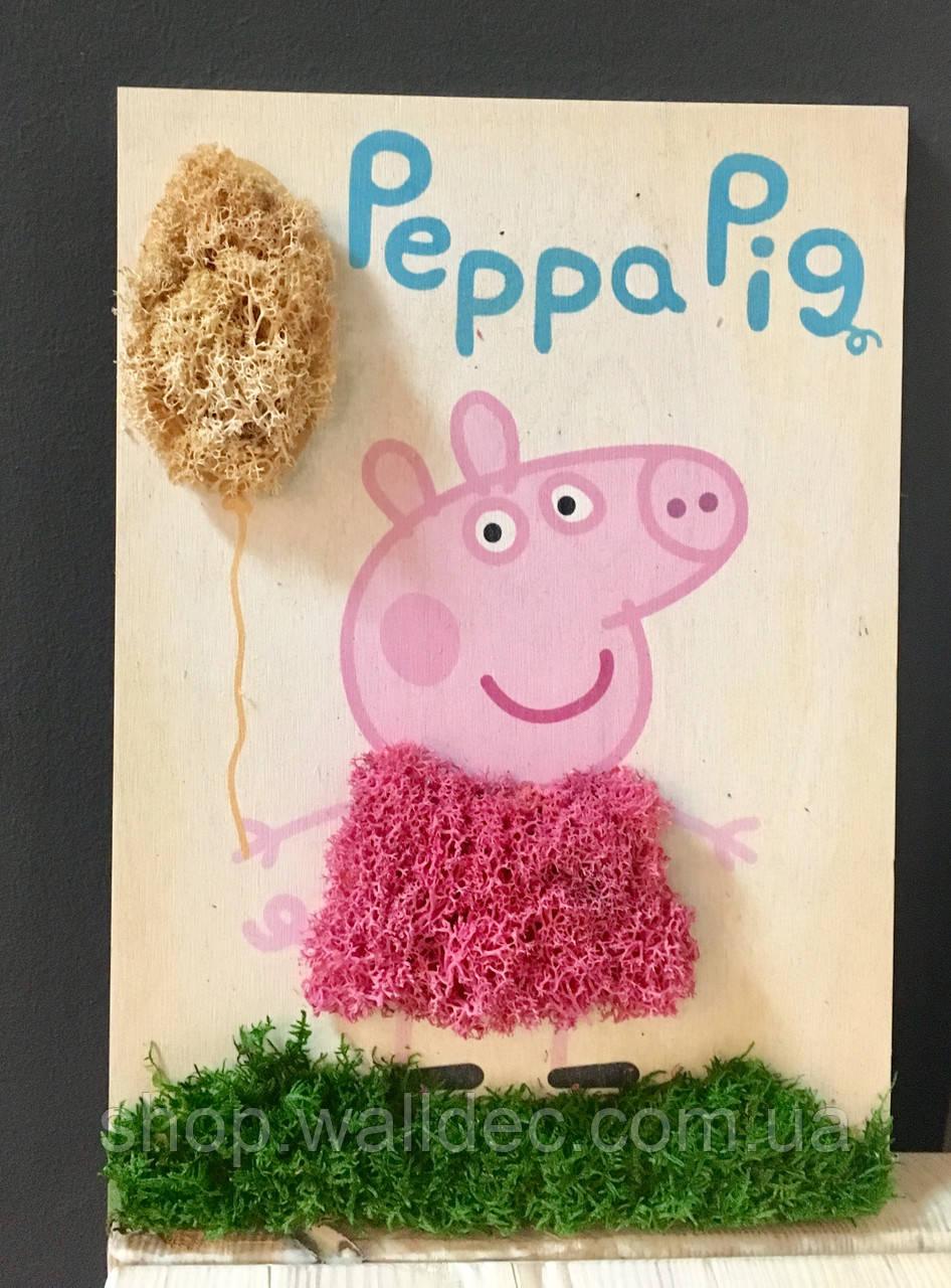 Картина из стабилизированного мха свинка Пеппа.