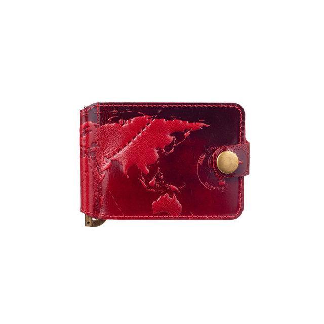 """Зажим для денег кожаный универсальный на кнопке Crystal """"7 чудес света"""". Цвет красный"""