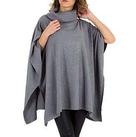 Женское пончо-свитер универсального размера Voyelles (Италия), Серый