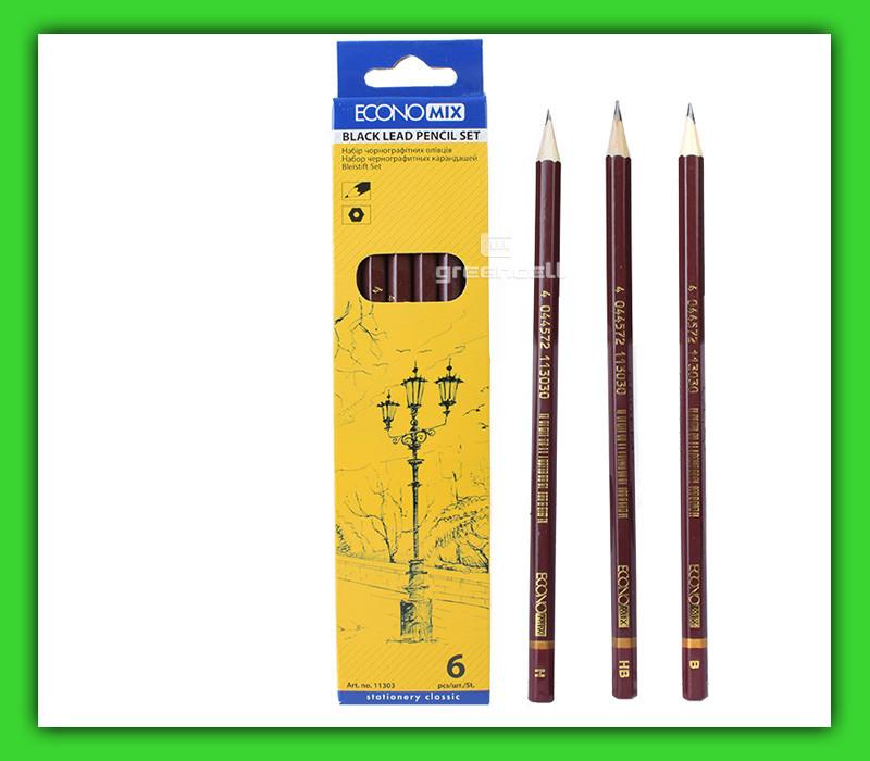 Набор чернографитных карандашей ECONOMIX 6 шт.