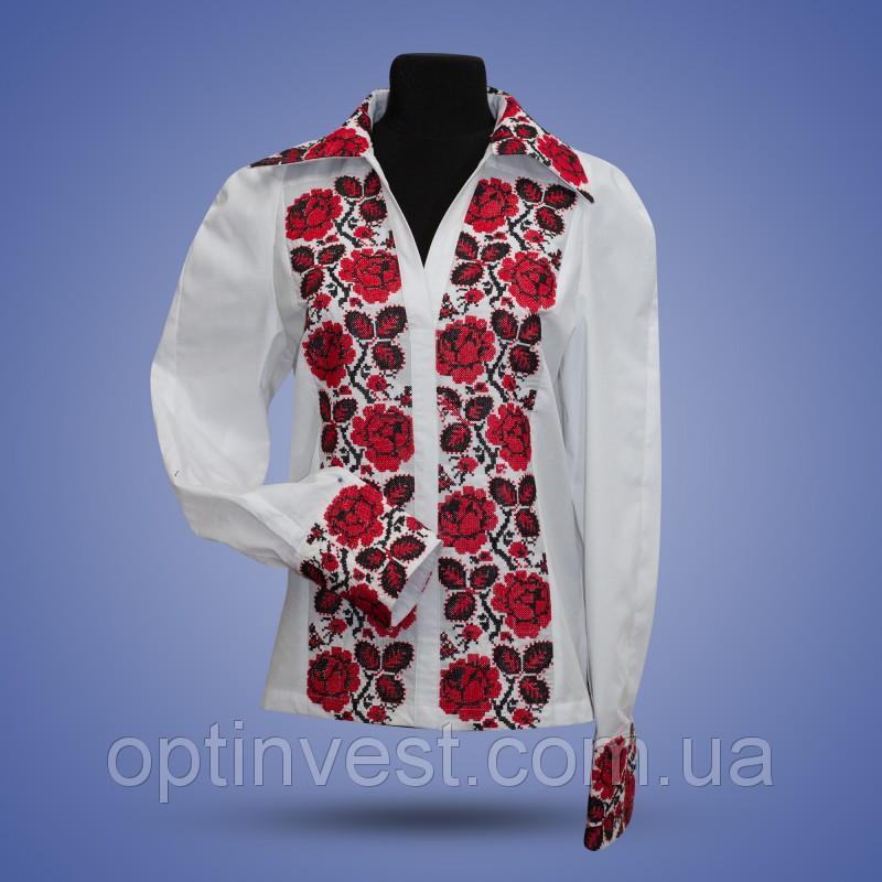 """Вышиванки блуза """"Розы"""" с отложным воротником"""
