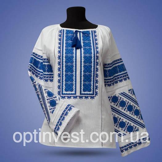 """Блуза вишиванка """"Квіткове поле"""" на білому фоні"""