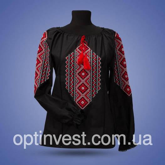 """Черная блуза - вышиванка """"Ромбы"""""""