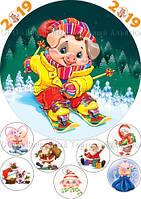 Печать съедобного фото - Ø21 см - Вафельная бумага - Новогодняя Поросёнок №2