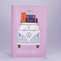 """Обложка на паспорт, розовый """"Фургончик"""", экокожа"""