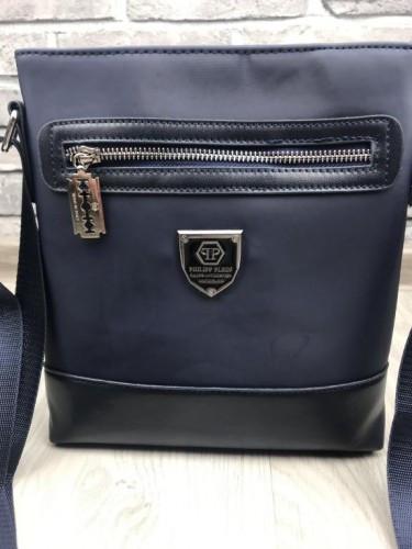 3ffc0f1d0d23 Брендовая мужская сумка-планшет Philipp Plein синяя планшетка через плечо  унисекс кожа PU реплика, ...