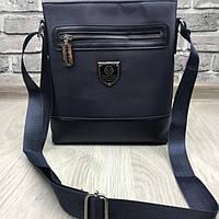 Брендовая мужская сумка-планшет Philipp Plein синяя планшетка через плечо унисекс кожа PU реплика