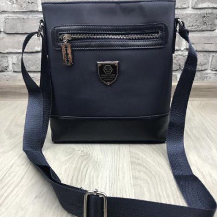 c3d32be1ef33 Брендовая мужская сумка-планшет Philipp Plein синяя планшетка через плечо  унисекс кожа PU реплика