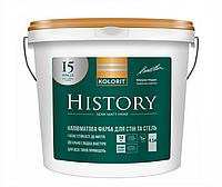 Фарба для стін та стель Kolorit History 4,5л (А) напівматова Біла