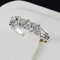 Необычное кольцо с кристаллами Swarovski в позолоте 0361