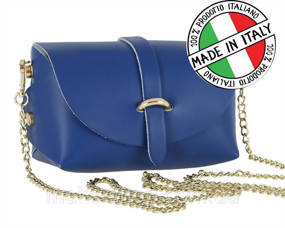 e64597aeb884 Женская кожаная мини- сумка на плечо, Италия Carla Berry 112/17 Синий -