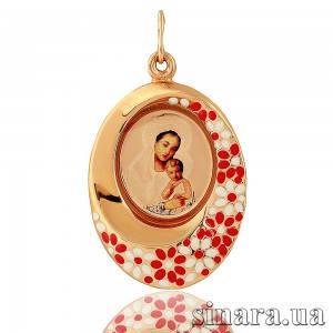 Золотая ладанка с эмалью Божия матерь с младенцем 23040