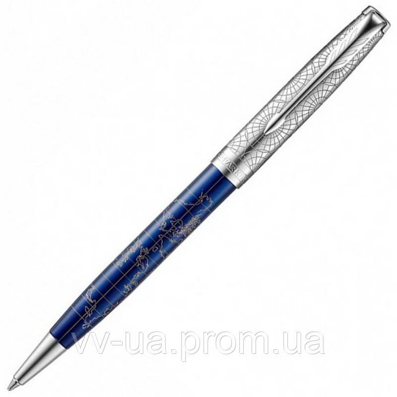 Ручка шариковая Parker Sonnet 17 SE Atlas Blue Silver PT BP 88 332