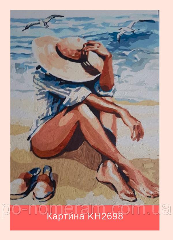 Оригинальная раскраска по цифрам - девушка на пляже