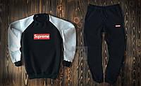 Зимний мужской спортивный костюм Supreme черного цвета
