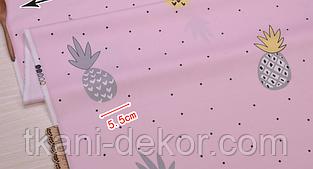 Сатин (премиум ткань) на розовом ананасы