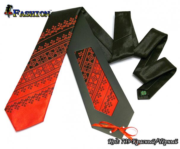 Мужской вышитый галстук стихии Огонь