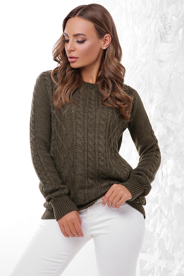 Цвет хаки Вязаного женского свитера Ингрид