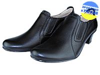 Женские туфли кожаные  mida 21171ч чёрные   весенние , фото 1