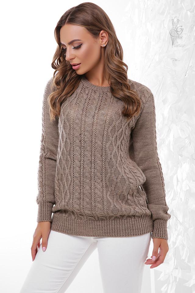 Цвет кофе Вязаного женского свитера Ингрид