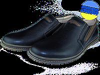 Мужские туфли кожаные  mida 11951ч черные   весенние