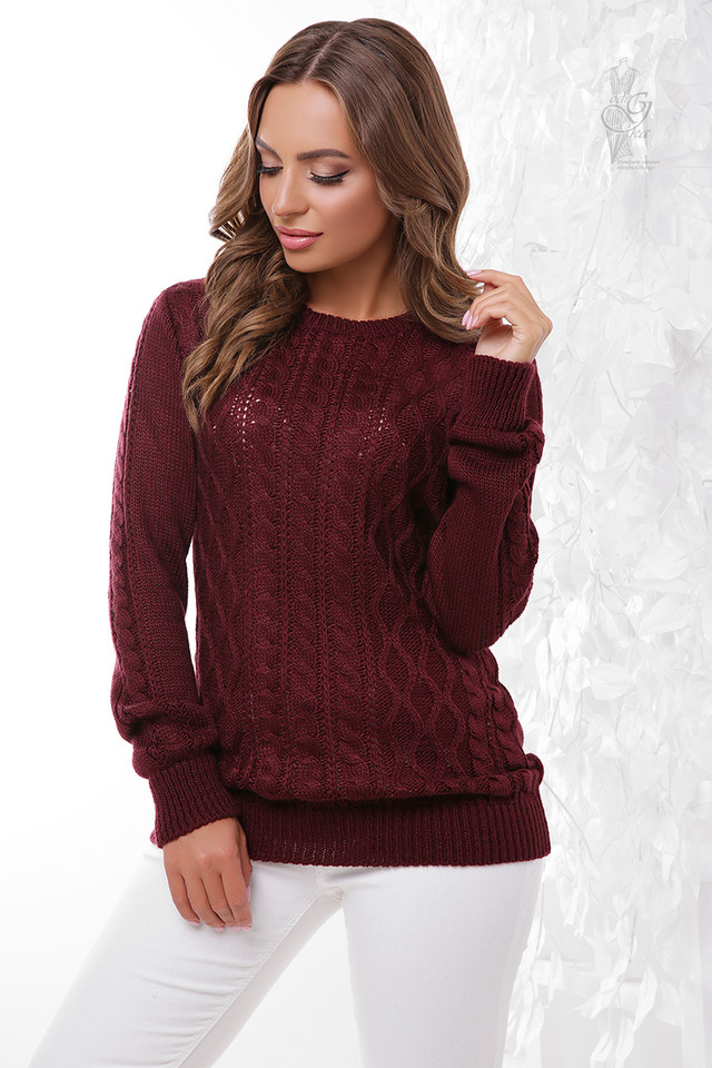 Цвет марсала Вязаного женского свитера Ингрид