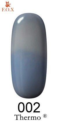 Гель-лак F.O.X Thermo 002 (серый-приглушенный синий, эмаль), 6 ml