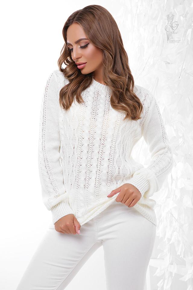 Цвет молоко Вязаного женского свитера Ингрид