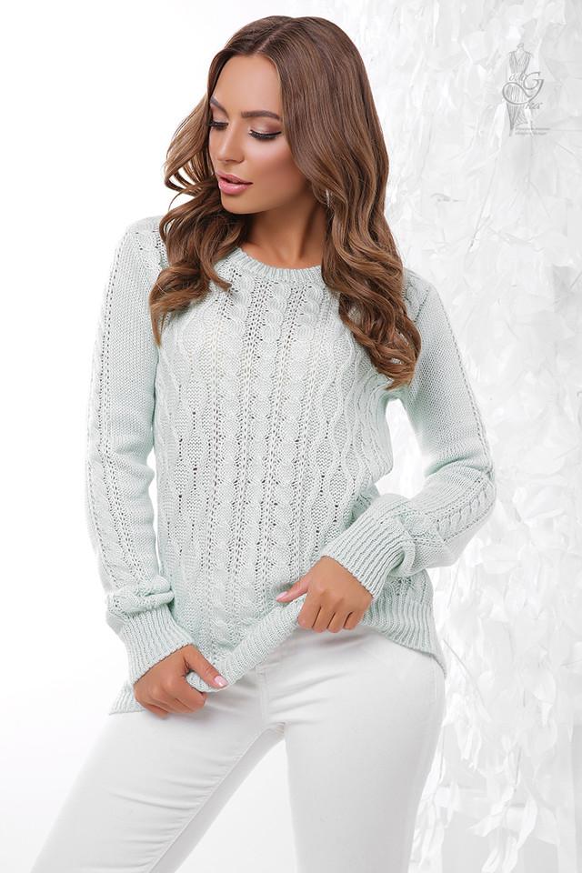 Цвет мята Вязаного женского свитера Ингрид