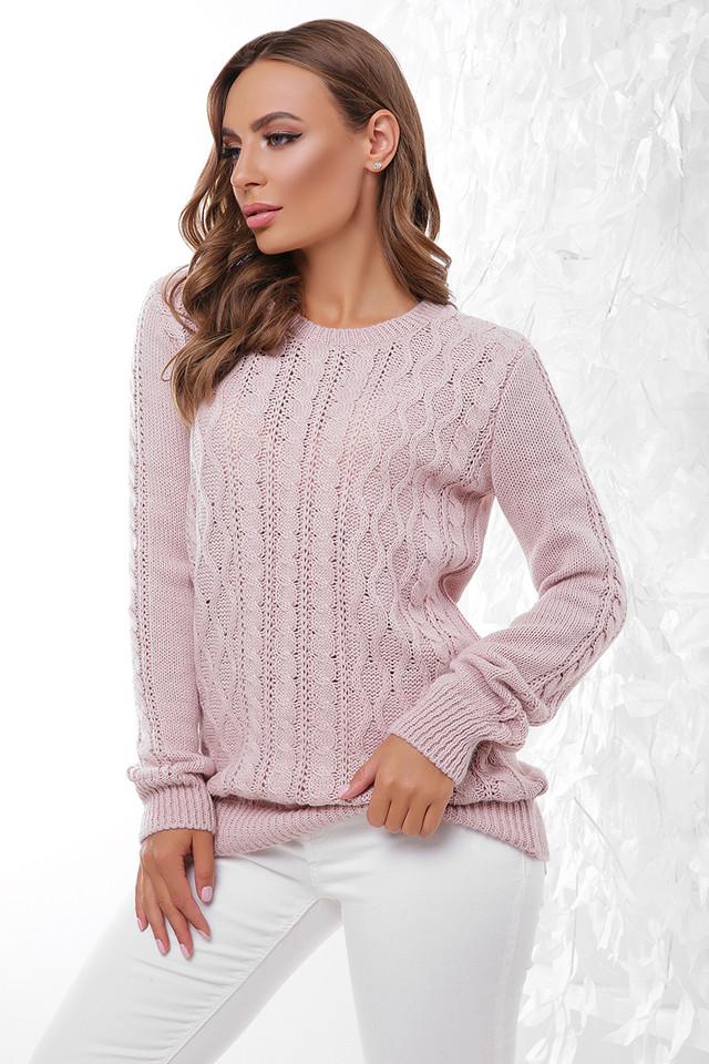 Цвет пудра Вязаного женского свитера Ингрид